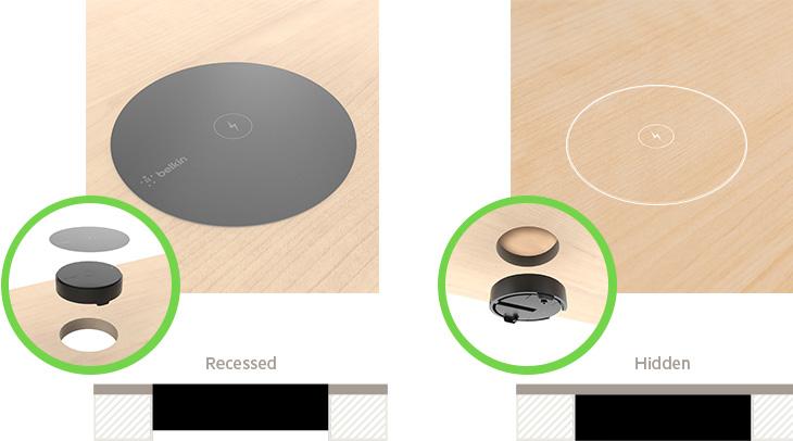 BOOST?UP Wireless Charging Spot recessed vs hidden installation