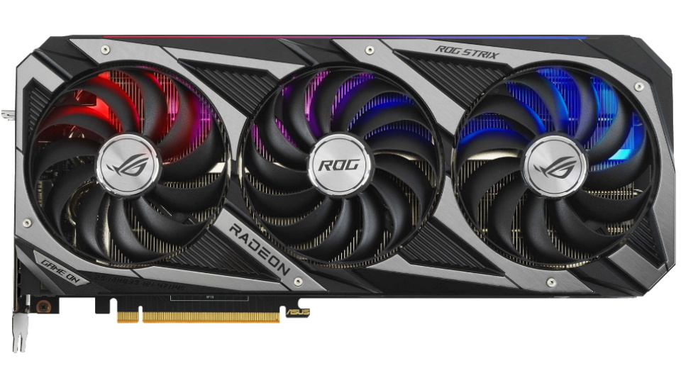 Picture of ROG Strix Radeon RX 6800 XT from the top with radeon logo