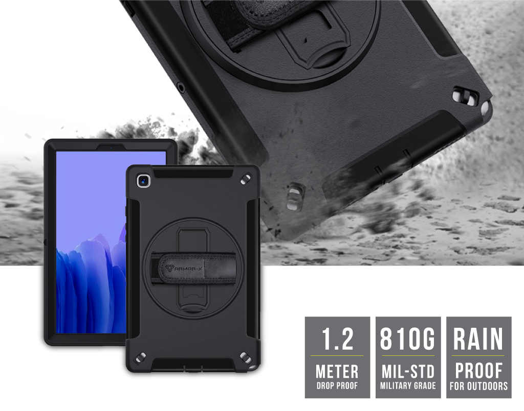 Armor X Samsung Galaxy Tab A7 10.4 (2020) T500 T505 rainproof military grade rugged case with hand strap and kick stand