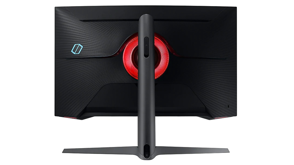 Picture of Samsung Odyssey G7 Gaming Monitor rear LED set to red