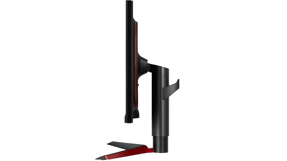 The LG UltraGear 27GL Gaming Monitor rear stand headphone holder