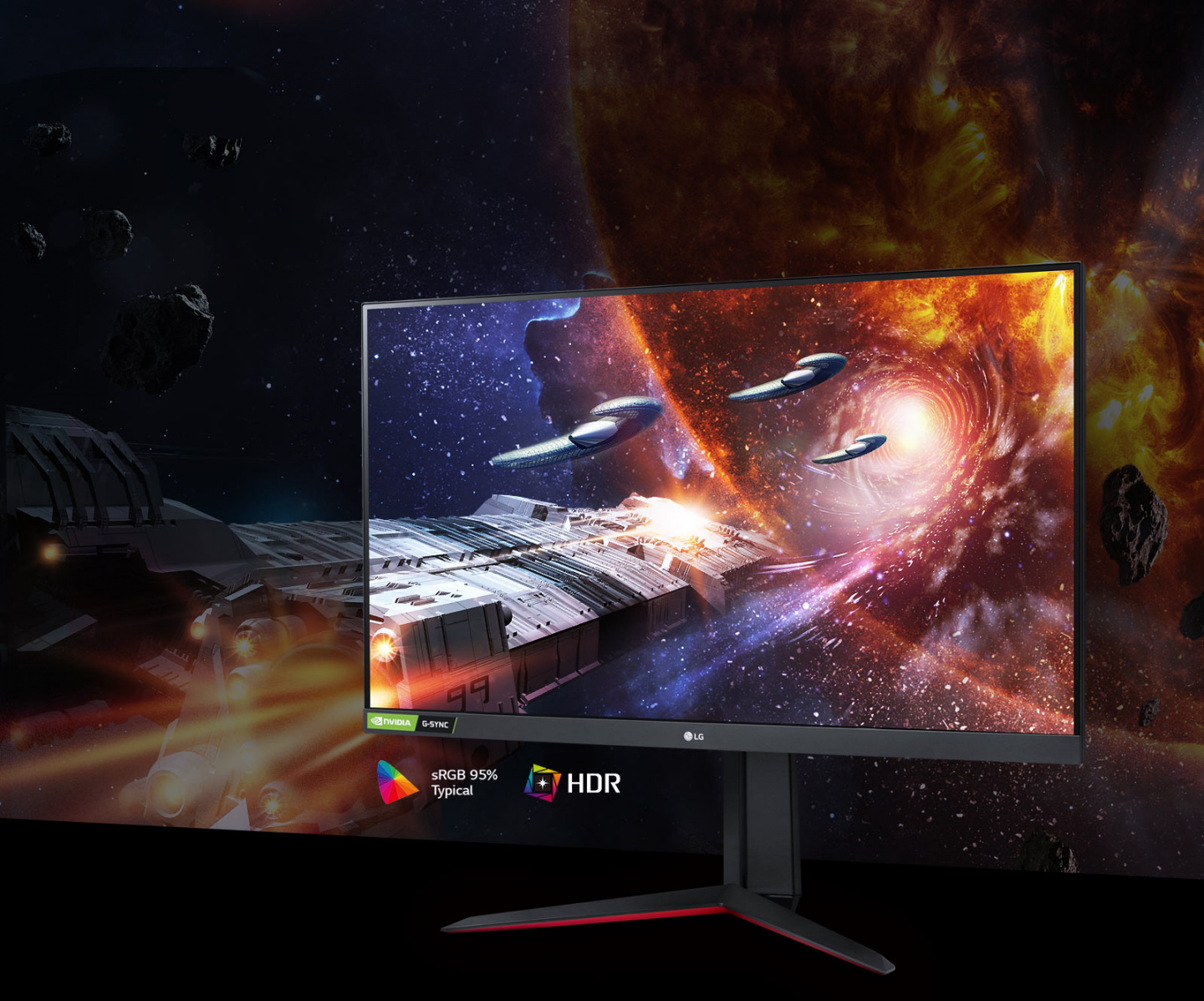 The Gaming Scene in Rich Colors and Contrast on The Monitor Supporting Hdr10 With Srgb 95% (Typ.)