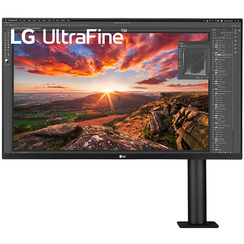 Picture of LG 4K monitor with C-Clamp for graphic design