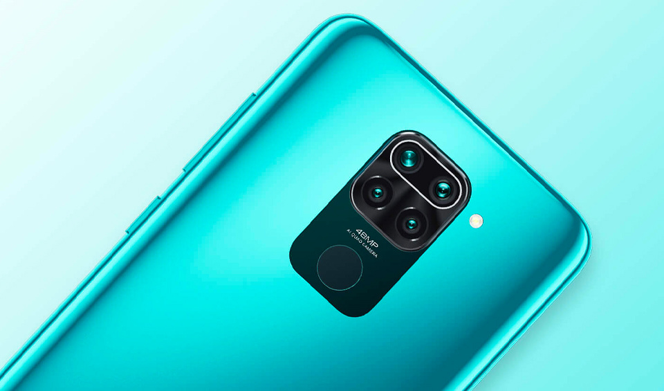 Oicture of the back of the Remi note 9, blue colour,highlighting the finger scanner
