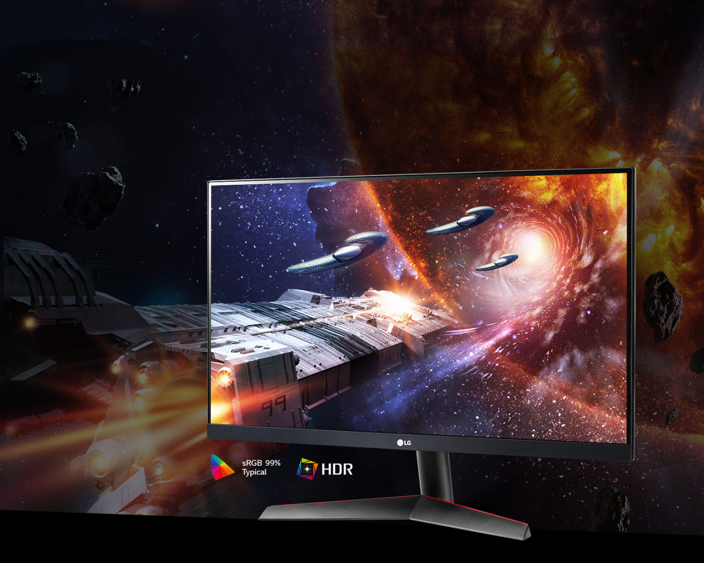 The Gaming Scene in Rich Colors and Contrast on The Monitor Supporting Hdr10 With Srgb 99% (Typ.)