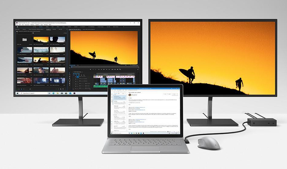 The Microsoft Surface Book 3 with multiple monitors