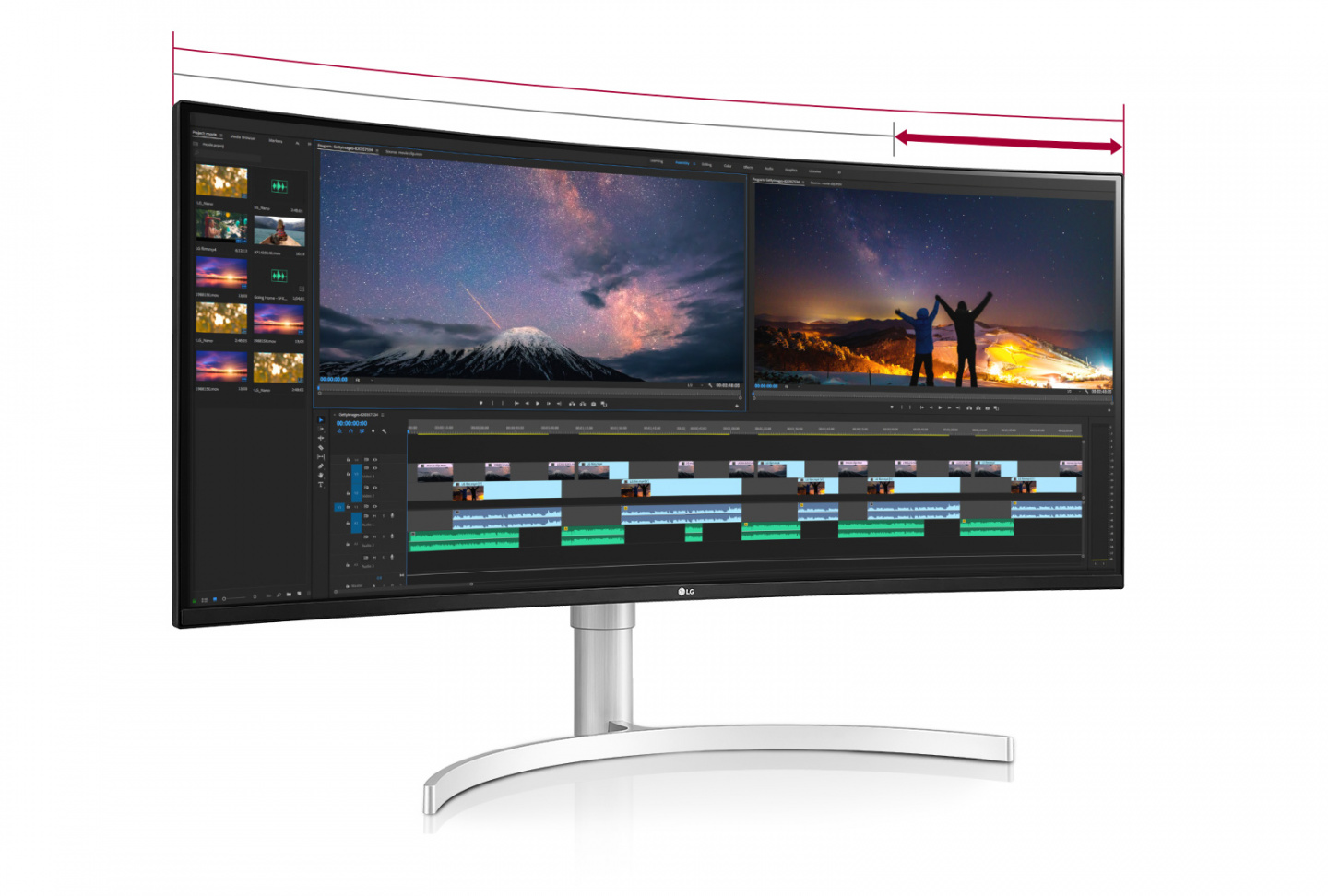 The monitor with aspect ratios of 21:9