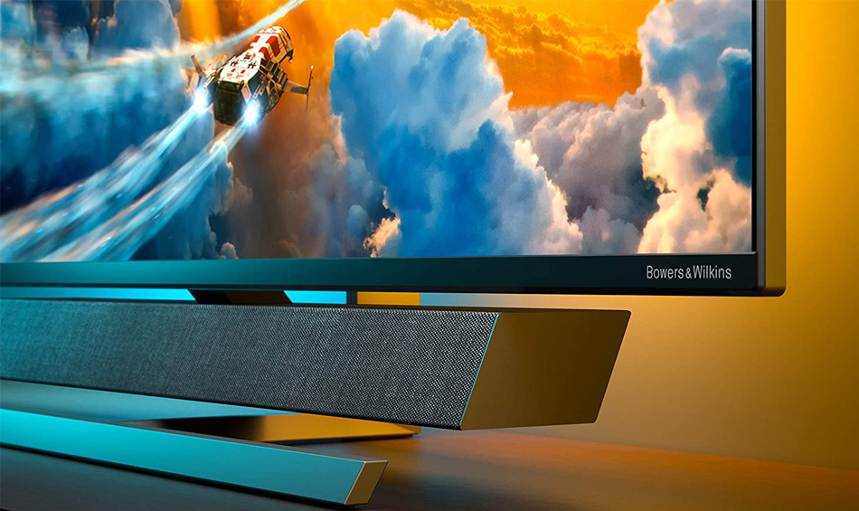 Built-in sound bar by legendary audio experts Bowers & Wilkins