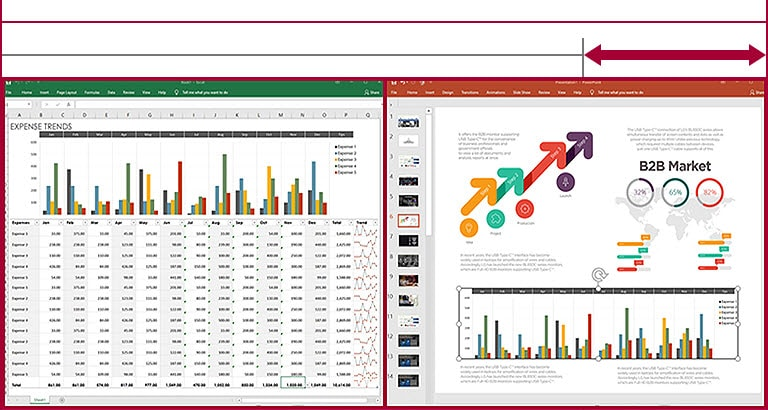 Sufficient space to display datasheets and slides side by side on the screen of 21:9 UltraWide display compared to 16:9 display