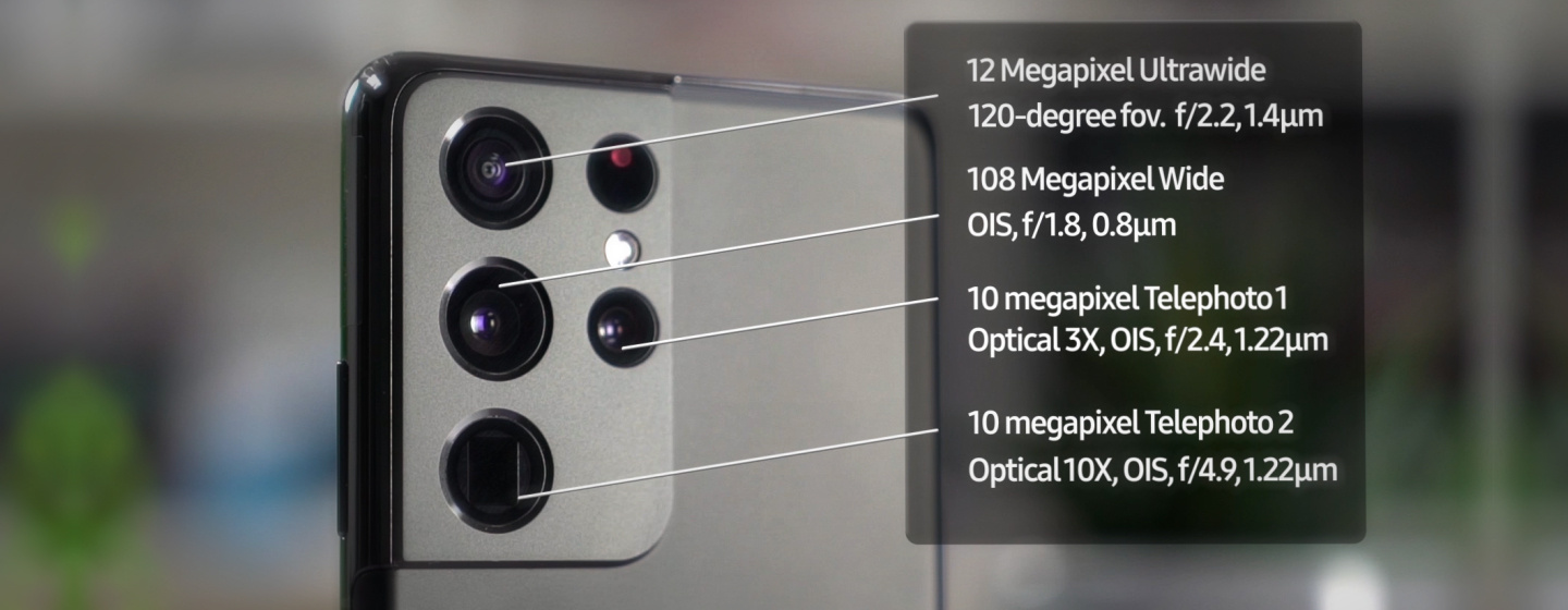 The Galaxy S21 Ultra camera system is built from 5 high quality image sensors paired with a host of handy lens's at varying sizes and focal distances - Handy for a variety of suituations.