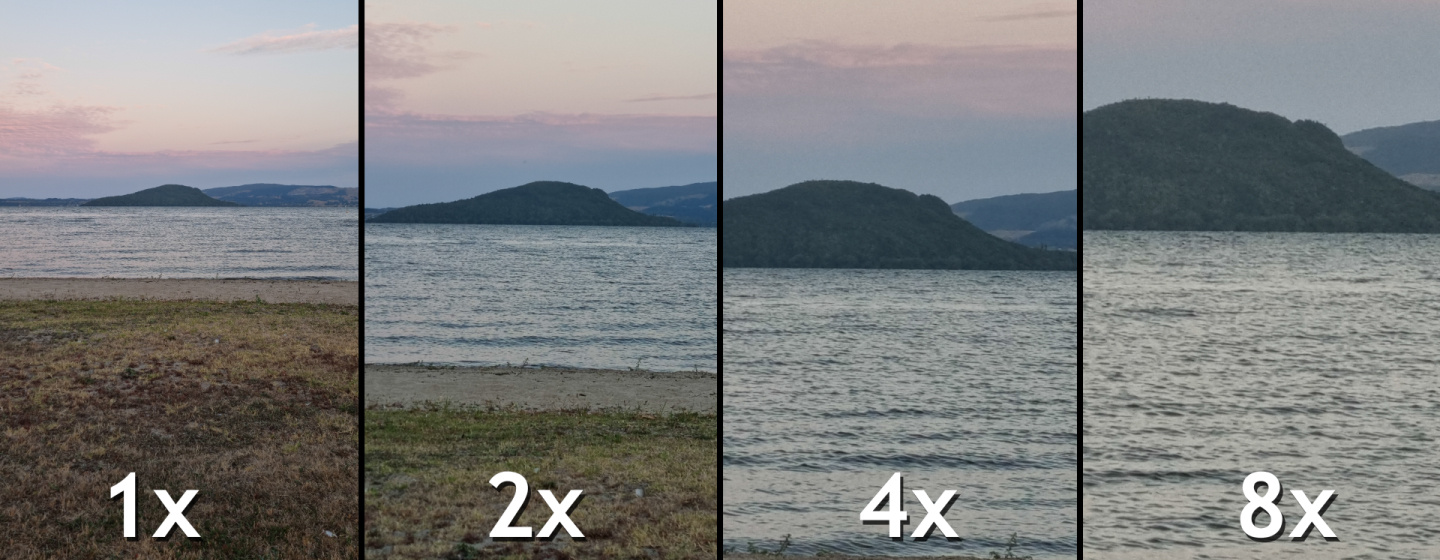 A photo taken from each of the focal distances offered by the Galaxy S21 Ultra.