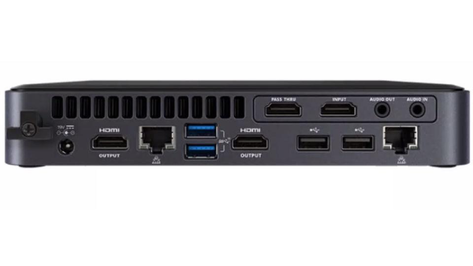 Picture of NUC Elements PRO Video and Audio Chassis inputs and outputs