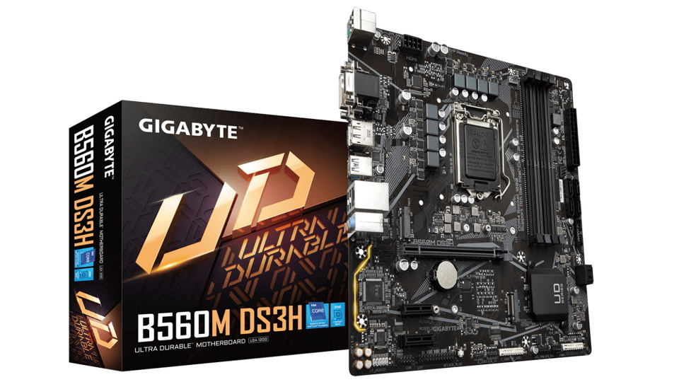 Picture of Gigabyte B560m motherboard for intel 11th Gen CPU box and motherboard
