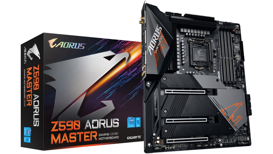 Picture of Gigabyte AORUS MASTER motherboard for intel 11th gen CPU and box