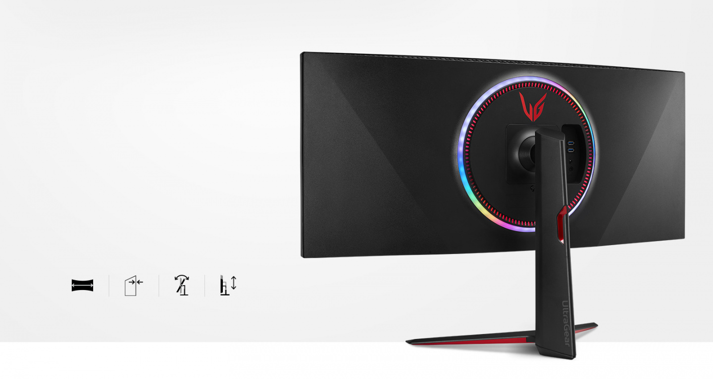 Monitor in the Stylish, and Virtually Borderless Design with 21:9 Curved Screen, and Tilt, and Height Adjustable Stand