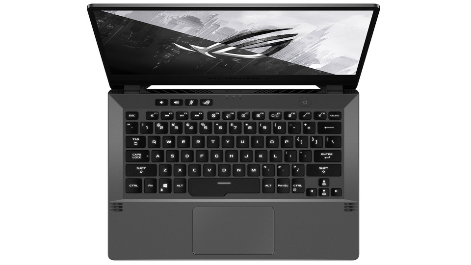 Picture of Asus G14 keyboard from top with large spacebar