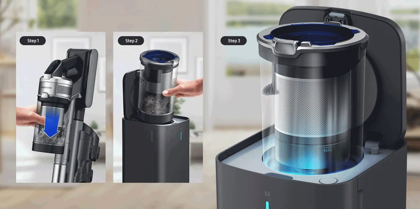Up to 400 times less dust emission when emptying dustbin!