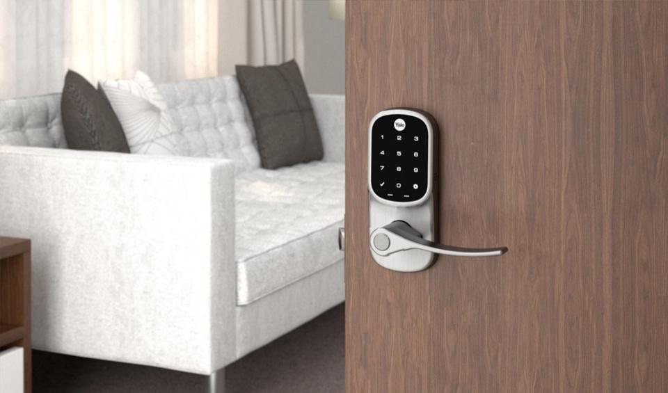 Enter via keypad, fingerprint scanner, and smartphone control.