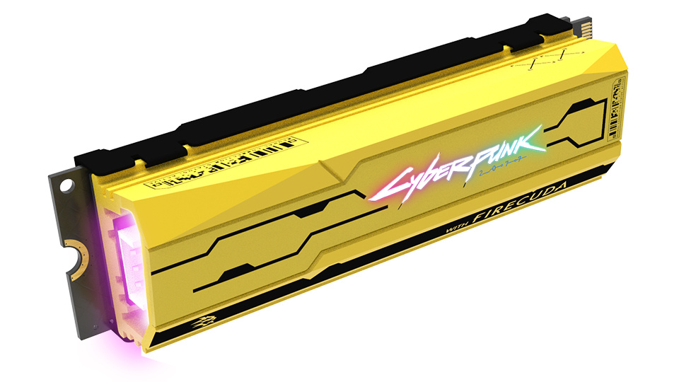 Picture of Seagate Cyberpunk 2077 SSD detailing with RGB