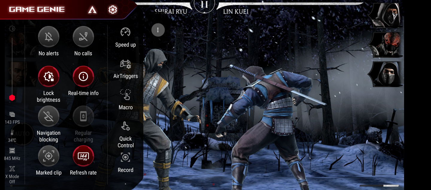 Picture of Asus ROG Phone 5 playing Mortal Kombat with almost 144fps