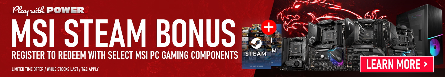 Picture of MSI PC Parts Steam Credit Voucher Promotions at PB Tech
