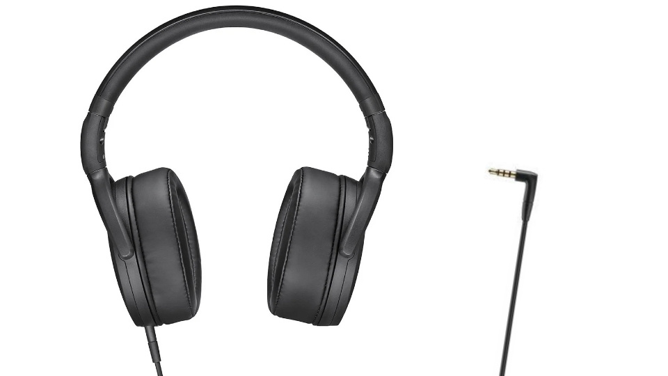 Picture of HD400S and single 3.5mm cable for output of both microphone and speaker