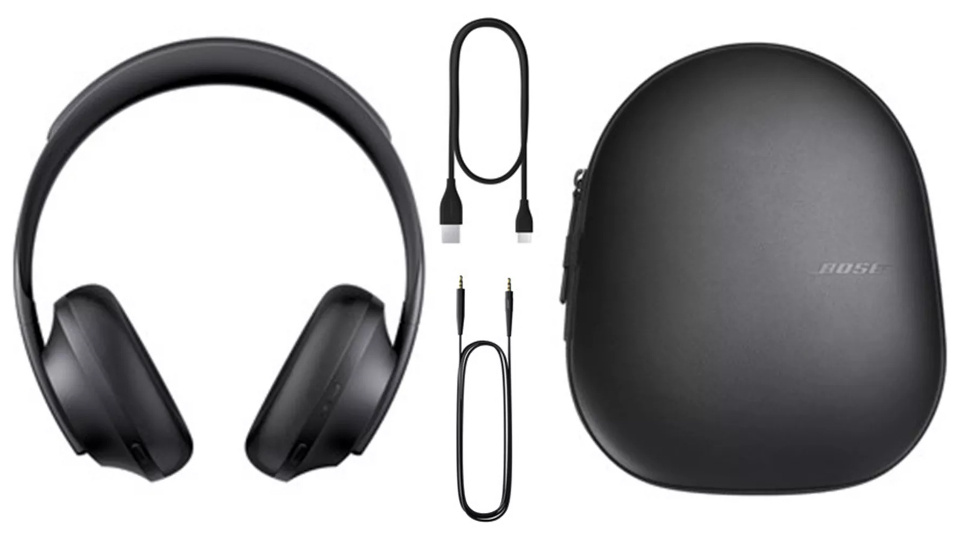 Picture of Bose 700 Wireless Headphones cables and case at PB Tech