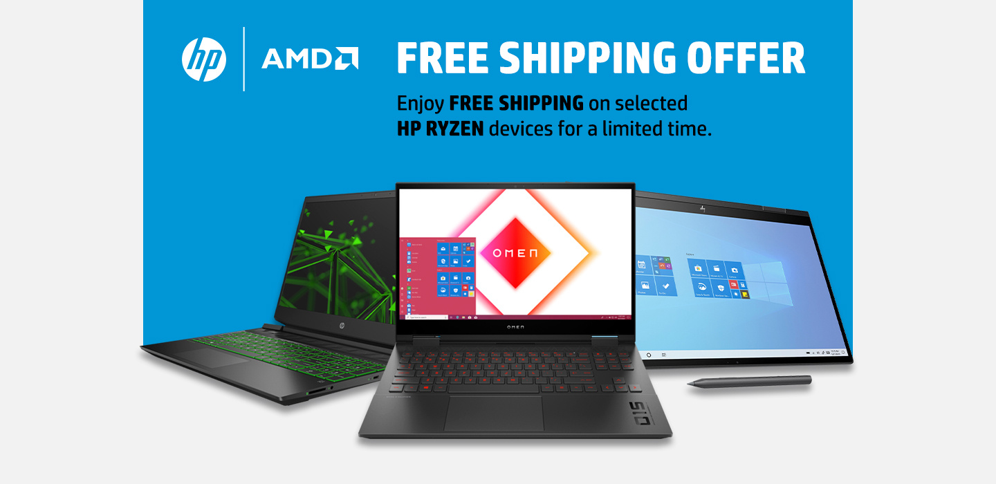 Free Shipping on selected HP Ryzen Laptops