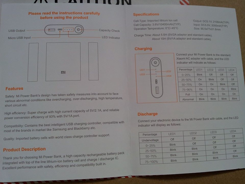 xiaomi power bank instructions