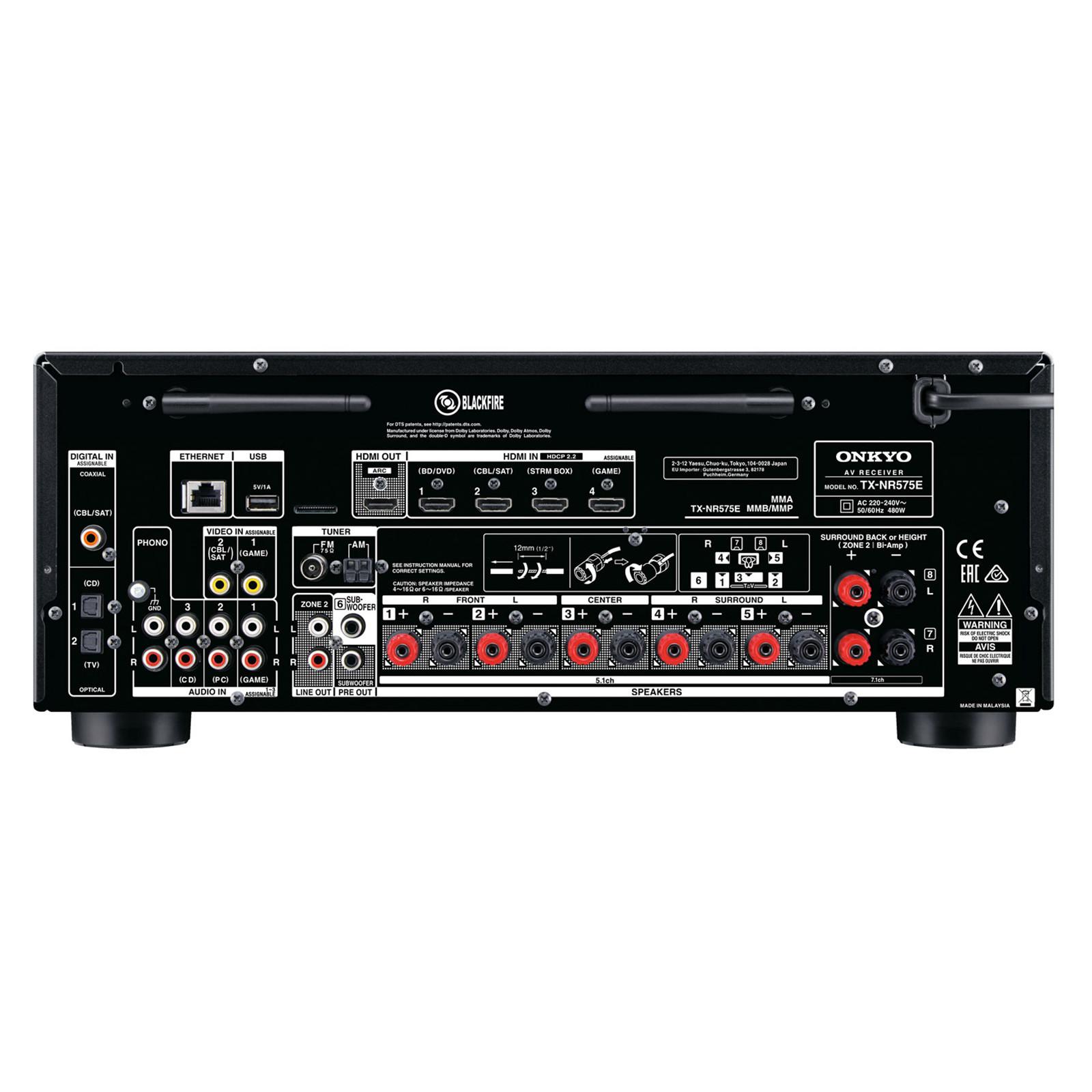 Buy the Onkyo TX-NR575E 7 2 Channel AV Receiver 2 Zone - HDMI 4x In
