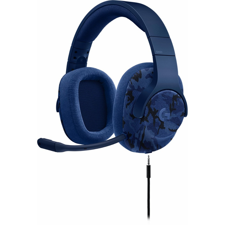 Logitech G433 7.1 Surround Sound USB Gaming Headset - Blue Camo, PC and Console Compatible