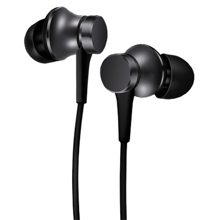 Xiaomi Mi Black Basic In-Ear Headphones - Black - Aluminium chamber, Tangle- free cable, Aerospace-grade metal, Compatible with Android and iOS devices