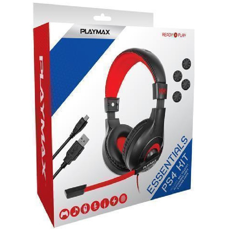 40ca5cdca83 Playmax PS4 Essential Pack Includes Playmax MX1 Headset, Play and Charge  Cable, 4x Thumb Grips