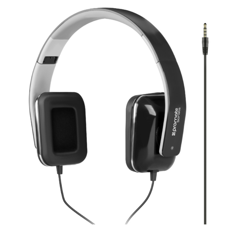 ed060f8511c Promate SONATA.BLK Foldable Over-The-Ear Wired Stereo Headset. Black.