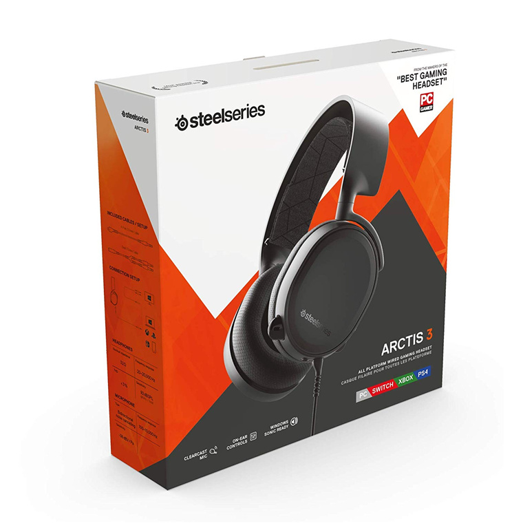 efbbebb8c1a Steelseries Arctis 3 Gaming Headset - Black 2019 Edition All-Platform Gaming  Headset for PC,.