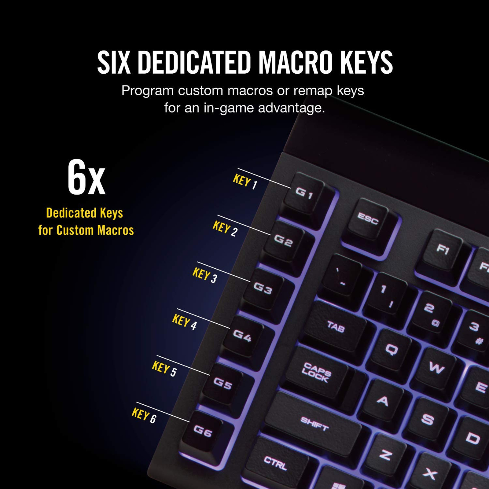 Buy the Corsair Gaming K55 RGB Gaming Keyboard, Quiet & Satisfying LED  Backlit    ( CH-9206015-NA ) online