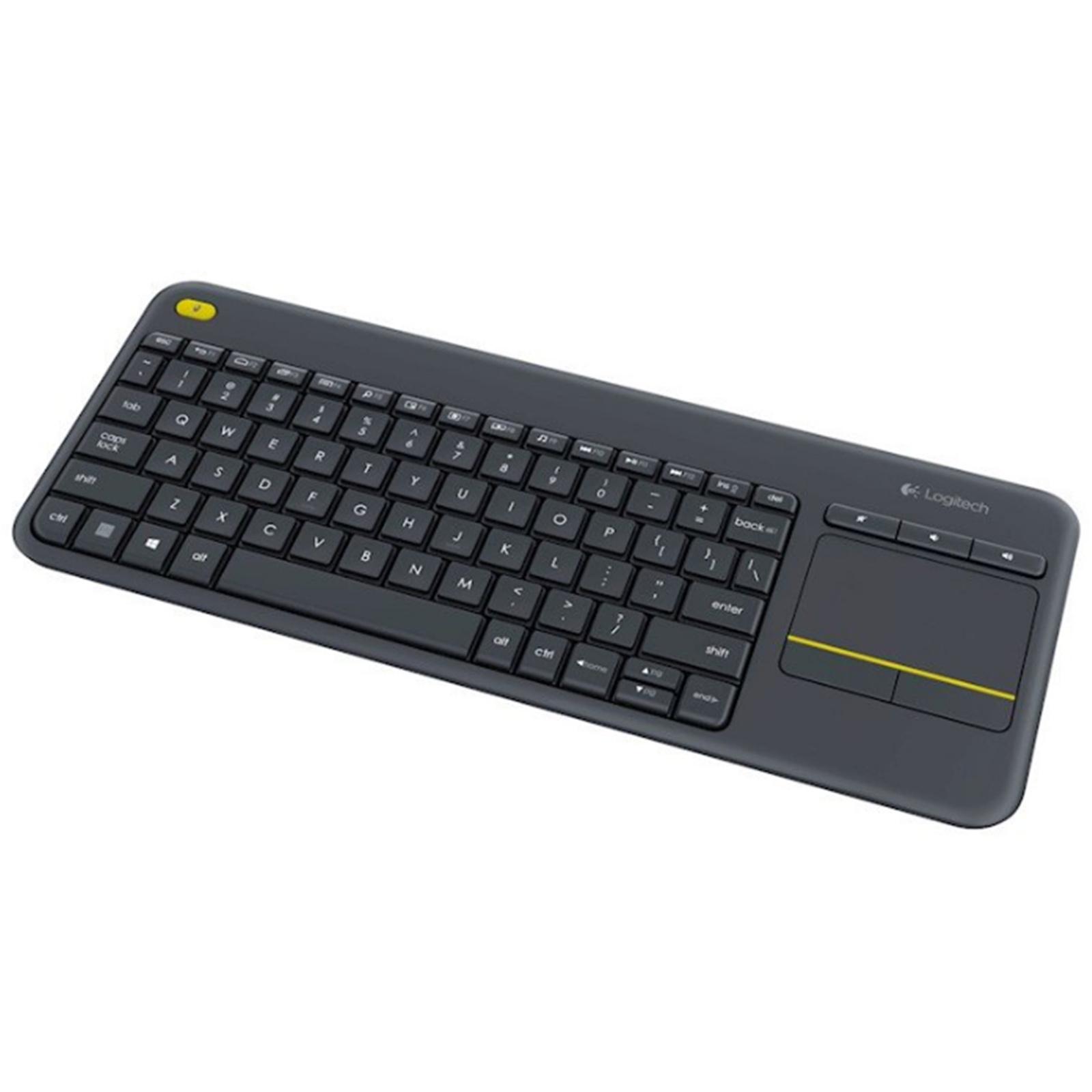 Buy the Logitech K400 PLUS BLACK WIRELESS TOUCH KEYBOARD HTPC keyboard for  PC    ( 920-007165 ) online