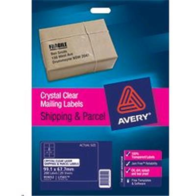 Avery clear label l7565 25 25 sheets