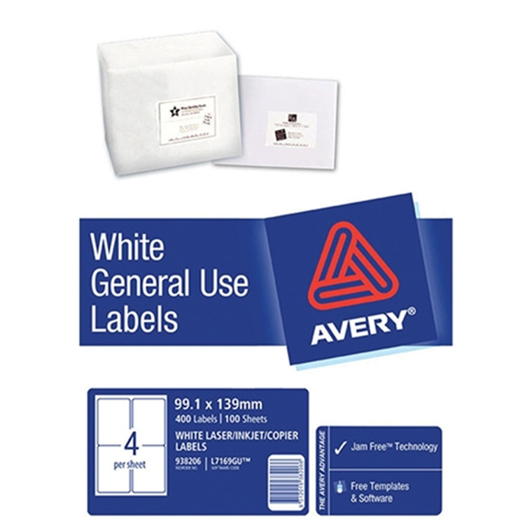 Buy The Avery L7169 General Use Labels A4 4 Labelssheet 100