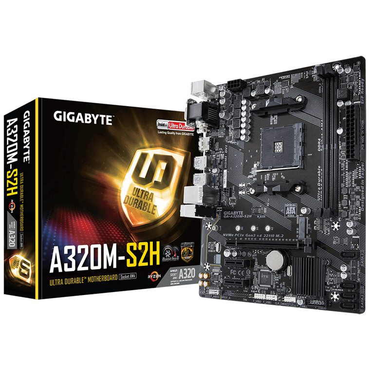 Buy the Gigabyte GA-A320M-S2H mATX For AMD Ryzen 2nd/3rd Gen