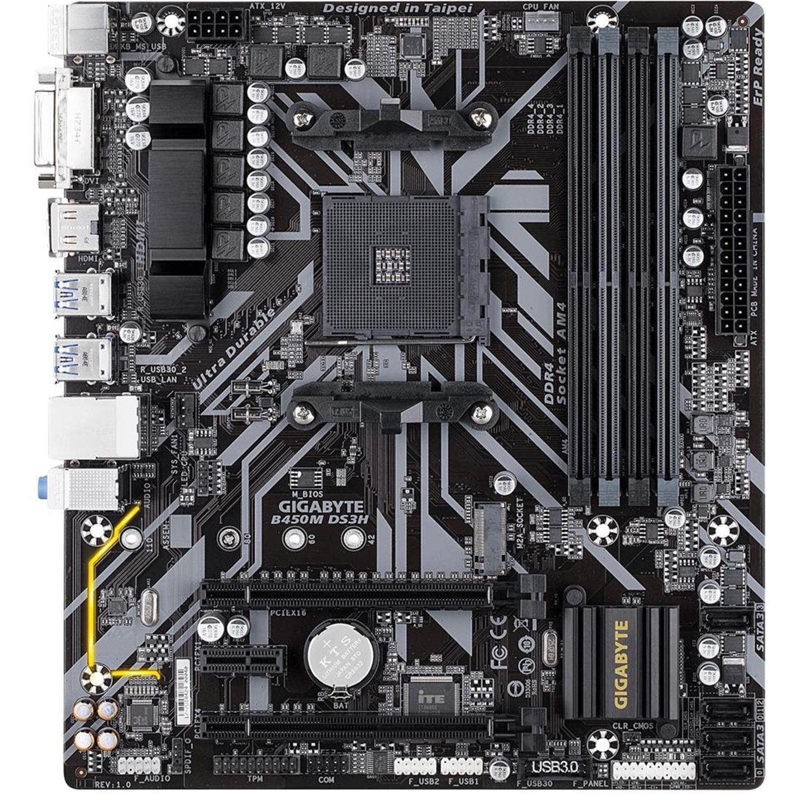 Buy the Gigabyte GA-B450M-DS3H mATX Motherboard, For AMD Ryzen 2nd