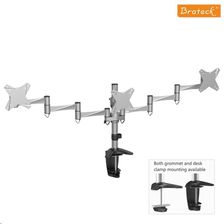 Brateck Lcd Ldt02 C036 13 21 5 Triple Desk Mount Max Arm Reach 858mm Tilt 15deg Swivel 360deg Load 8kg Per Supports 75 100 Mm Vesa