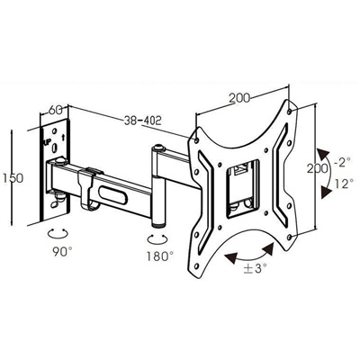 Buy The Loctek 14 43 Psw732 Full Motion Tv Wall Mount Max Load