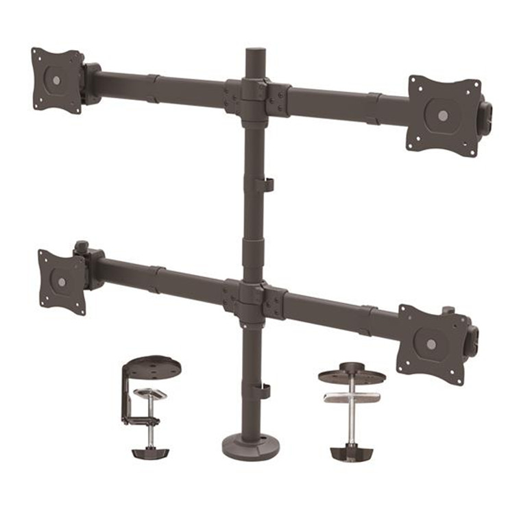 Startech Armquad Desk Mount Quad Monitor Arm Articulating For Vesa Monitors Up To 27in 17 6lb 8kg Heavy Duty Steel Construction