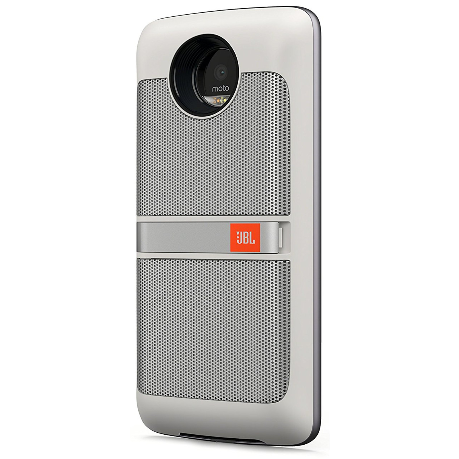 Motorola Moto Mod JBL SoundBoost Speaker 1st Gen - White - For music, video, & conference calling with integrated kickstand Compatible with the Moto Z ...