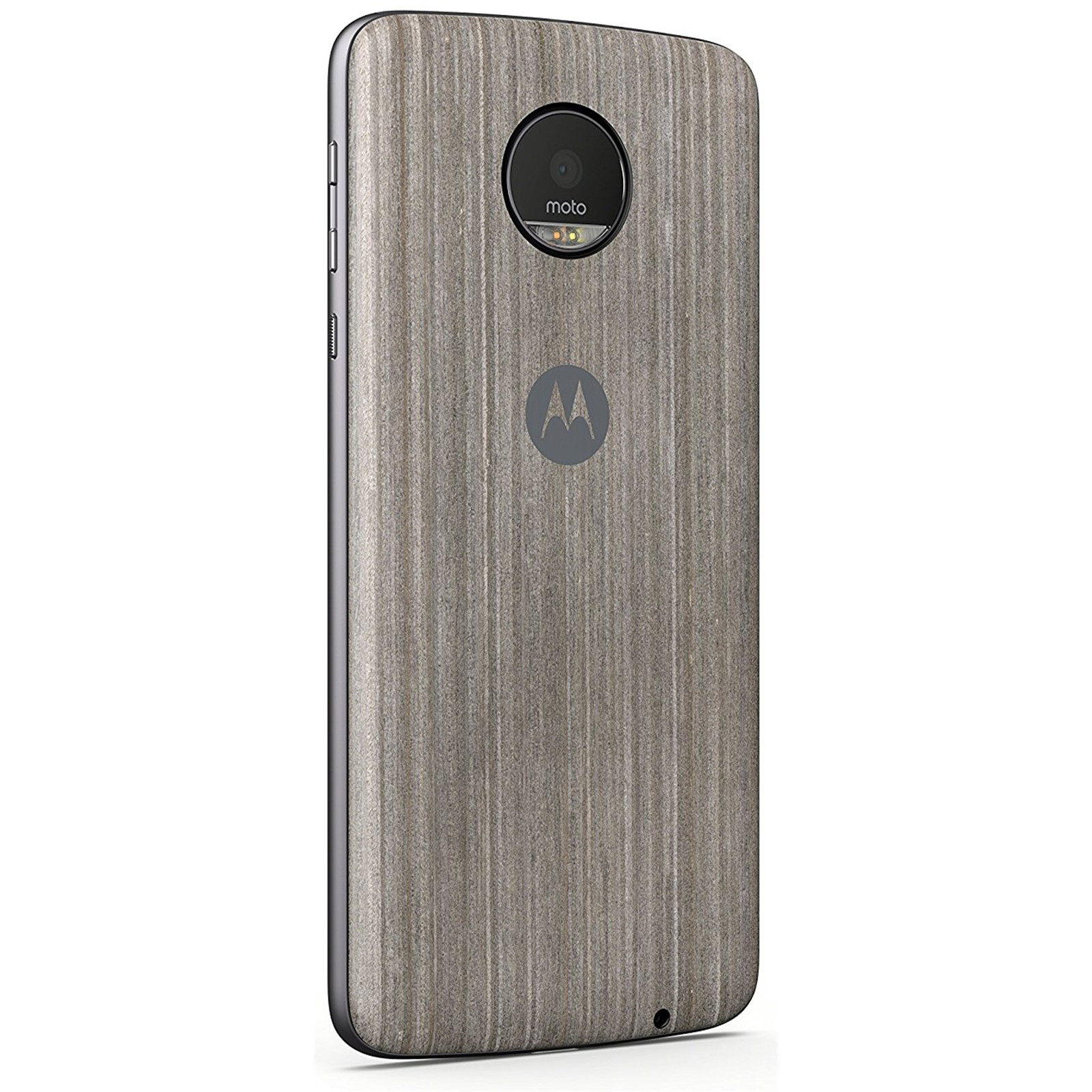 MOTOROLA STYLE CAP SILVER OAK Real wood Compatible with the Moto Z Family of phones