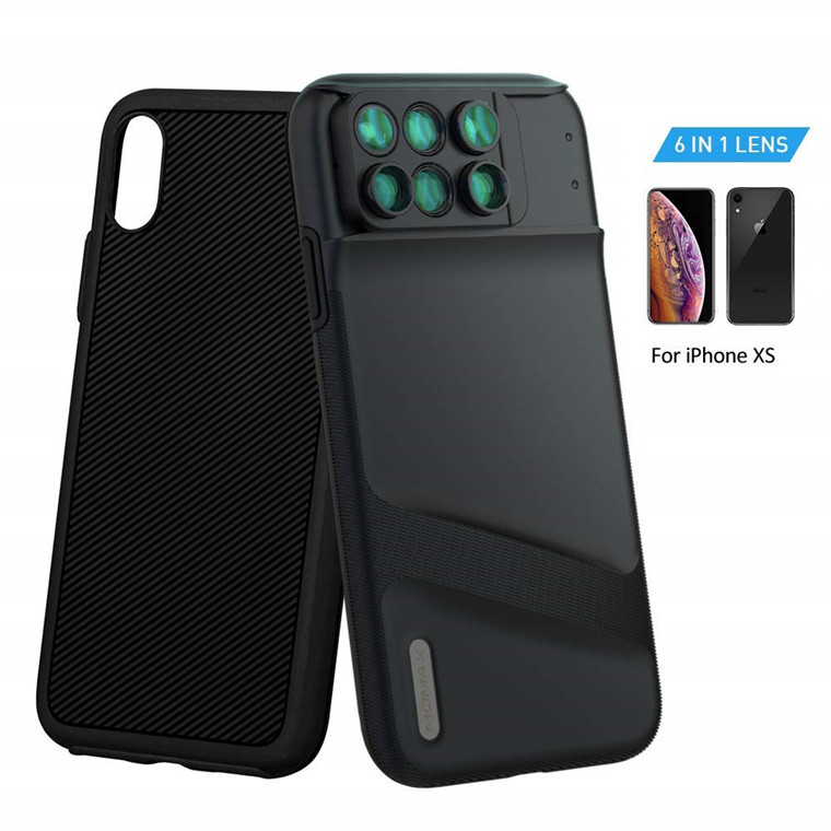 hot sale online cc695 e1c79 Buy the Momax iPhone XS 6 in 1 Lens Case, Dual Optics Lens Kit (180 ...
