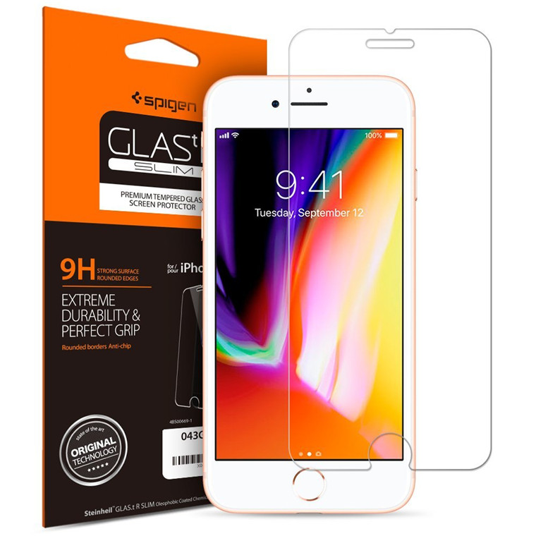 Spigen iPhone 8/7 Premium Tempered Glass Screen Protector Extreme Durability,9H screen hardness,Rounded Edges, Perfect Grip,Delicate Touch 042GL20607
