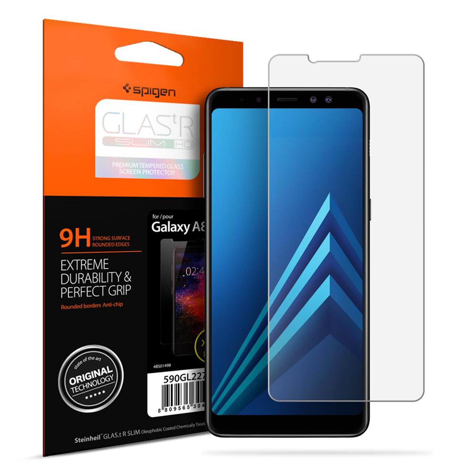 Spigen Galaxy A8 (2018) Premium Tempered Glass Screen Protector, 9H Screen Hardness,