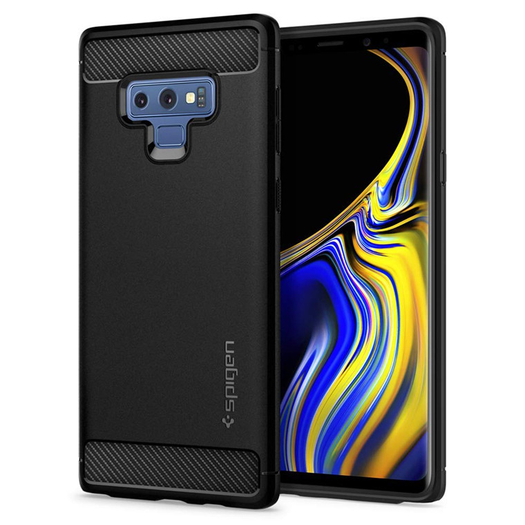 Spigen Galaxy Note 9 Rugged Armor Case Black, Durable Mechanical Design,Air Cushion Technology (Military-Grade Protection) Carbon Fiber Design,599CS24572